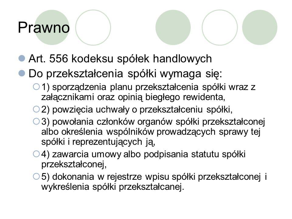 Prawno Art. 556 kodeksu spółek handlowych Do przekształcenia spółki wymaga się: 1) sporządzenia planu przekształcenia spółki wraz z załącznikami oraz