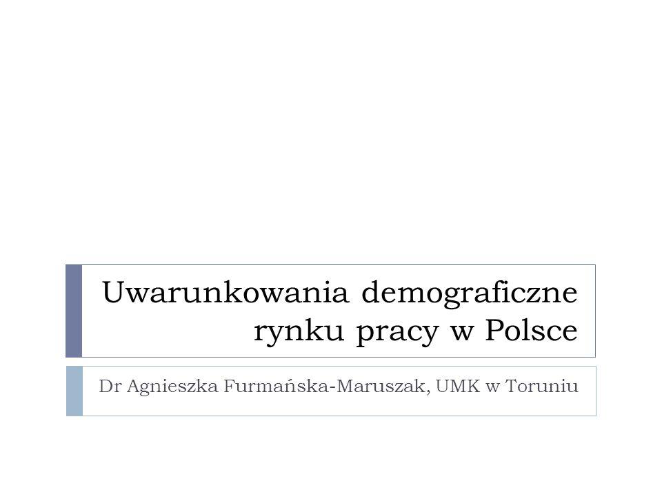 Uwarunkowania demograficzne rynku pracy w Polsce Dr Agnieszka Furmańska-Maruszak, UMK w Toruniu