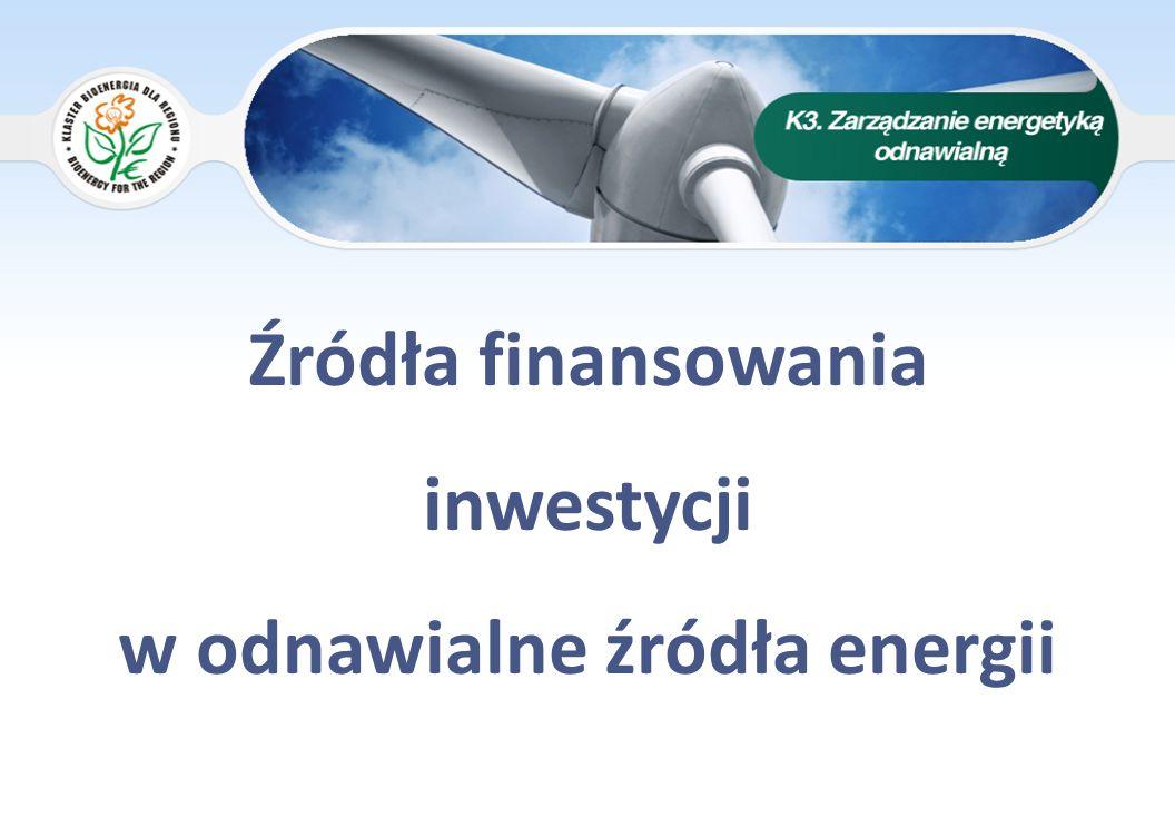 Źródła finansowania OZE AGENDA 1.REGIONALNY PROGARM OPERACYJNY WOJEWÓDZTWA ŁÓDZKIEGO 2007-2013 2.