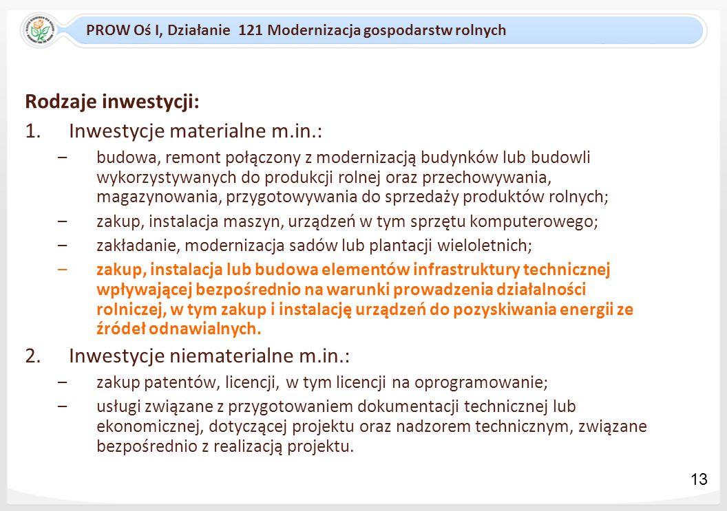 PROW Oś I, Działanie 121 Modernizacja gospodarstw rolnych Rodzaje inwestycji: 1.Inwestycje materialne m.in.: –budowa, remont połączony z modernizacją