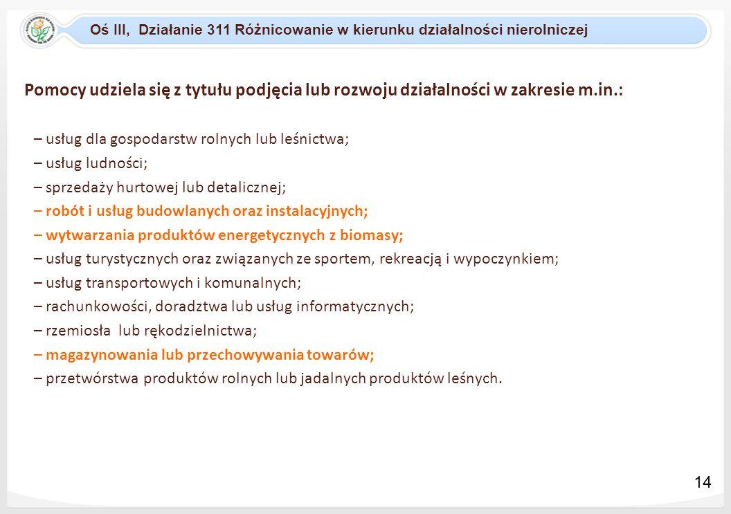Oś III, Działanie 311 Różnicowanie w kierunku działalności nierolniczej Pomocy udziela się z tytułu podjęcia lub rozwoju działalności w zakresie m.in.