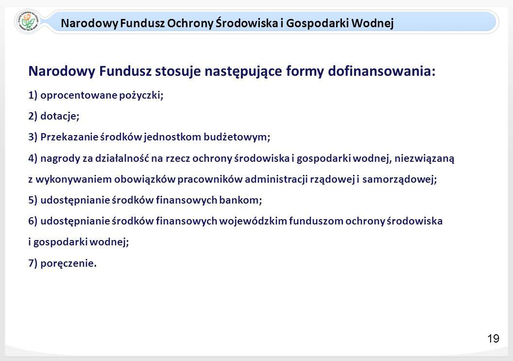 Narodowy Fundusz stosuje następujące formy dofinansowania: 1) oprocentowane pożyczki; 2) dotacje; 3) Przekazanie środków jednostkom budżetowym; 4) nag