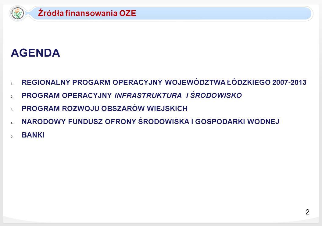 Źródła finansowania OZE AGENDA 1. REGIONALNY PROGARM OPERACYJNY WOJEWÓDZTWA ŁÓDZKIEGO 2007-2013 2. PROGRAM OPERACYJNY INFRASTRUKTURA I ŚRODOWISKO 3. P