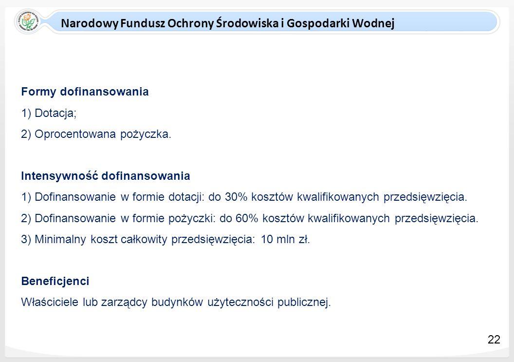 Narodowy Fundusz Ochrony Środowiska i Gospodarki Wodnej Formy dofinansowania 1) Dotacja; 2) Oprocentowana pożyczka. Intensywność dofinansowania 1) Dof