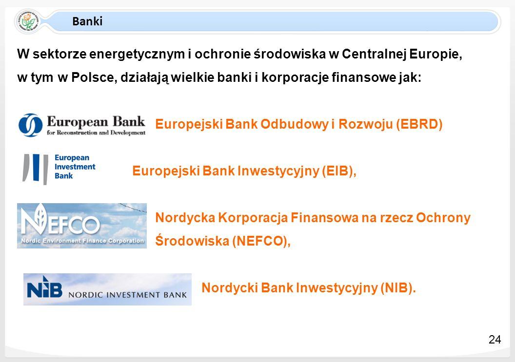 Banki W sektorze energetycznym i ochronie środowiska w Centralnej Europie, w tym w Polsce, działają wielkie banki i korporacje finansowe jak: Europejs