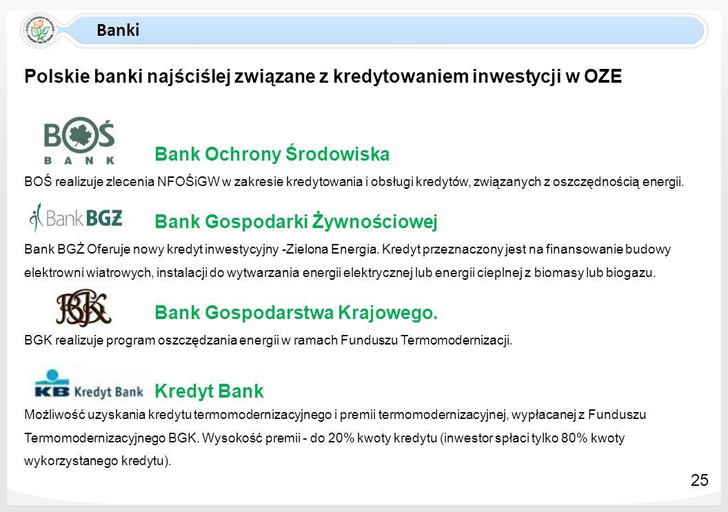Banki Polskie banki najściślej związane z kredytowaniem inwestycji w OZE Bank Ochrony Środowiska BOŚ realizuje zlecenia NFOŚiGW w zakresie kredytowani