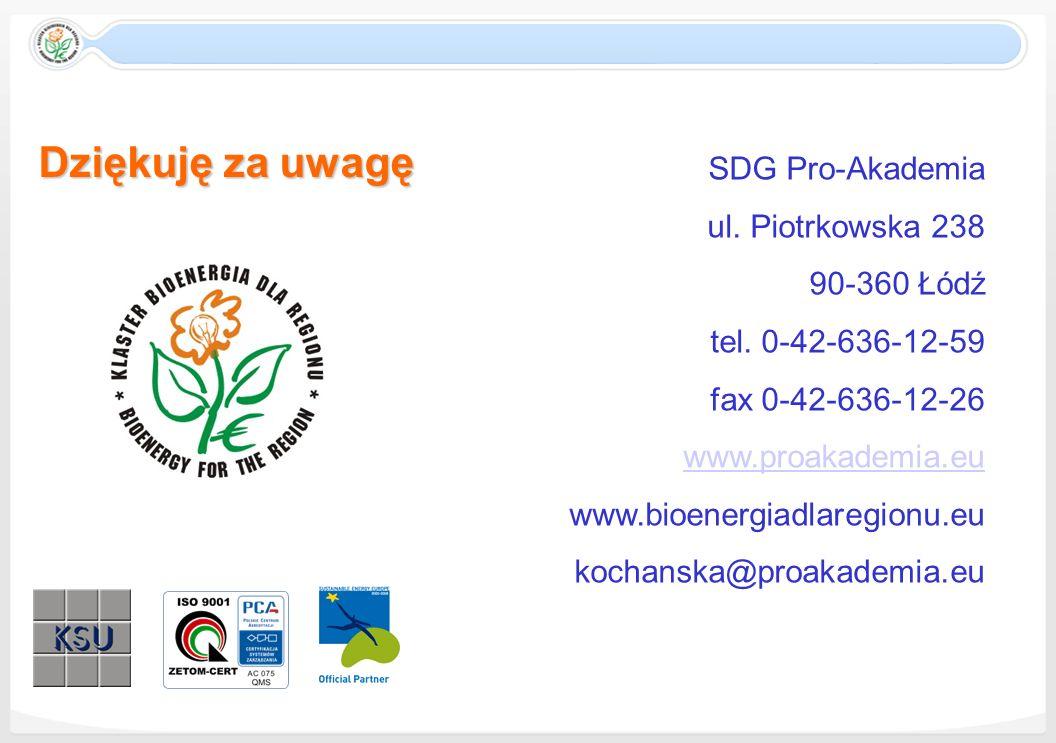 Dziękuję za uwagę SDG Pro-Akademia ul. Piotrkowska 238 90-360 Łódź tel. 0-42-636-12-59 fax 0-42-636-12-26 www.proakademia.eu www.bioenergiadlaregionu.