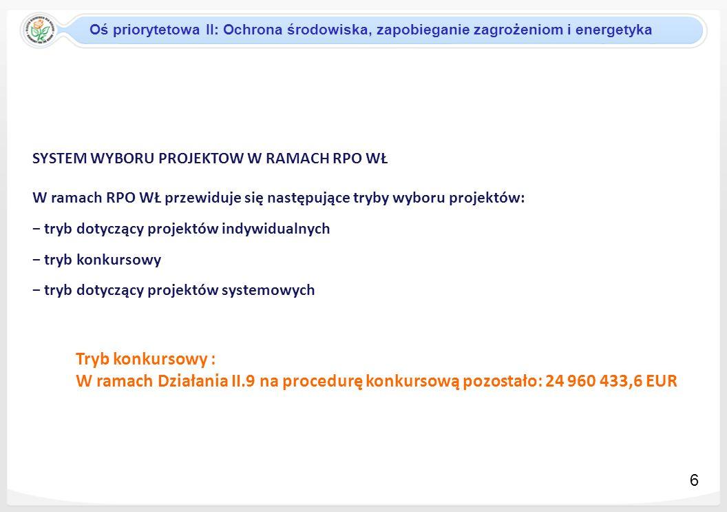 KRYTERIA WYBORU PROJEKTÓW Oś priorytetowa II: Ochrona środowiska, zapobieganie zagrożeniom i energetyka 7