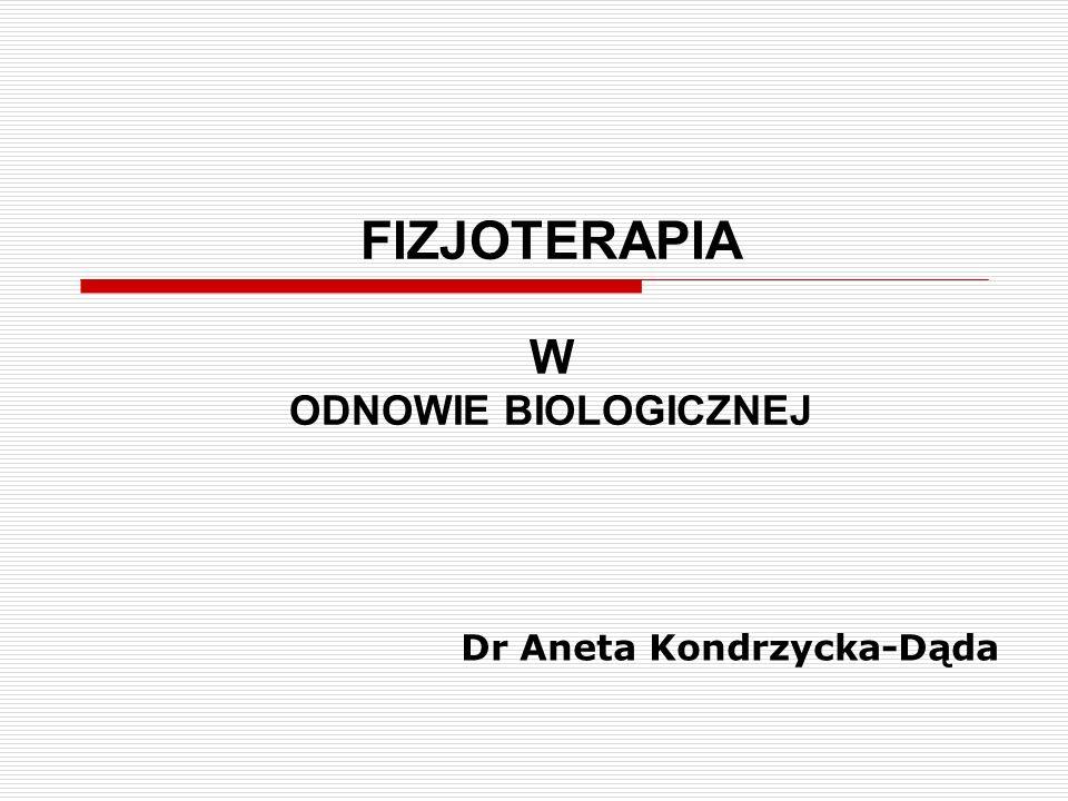 FIZJOTERAPIA W ODNOWIE BIOLOGICZNEJ Dr Aneta Kondrzycka-Dąda