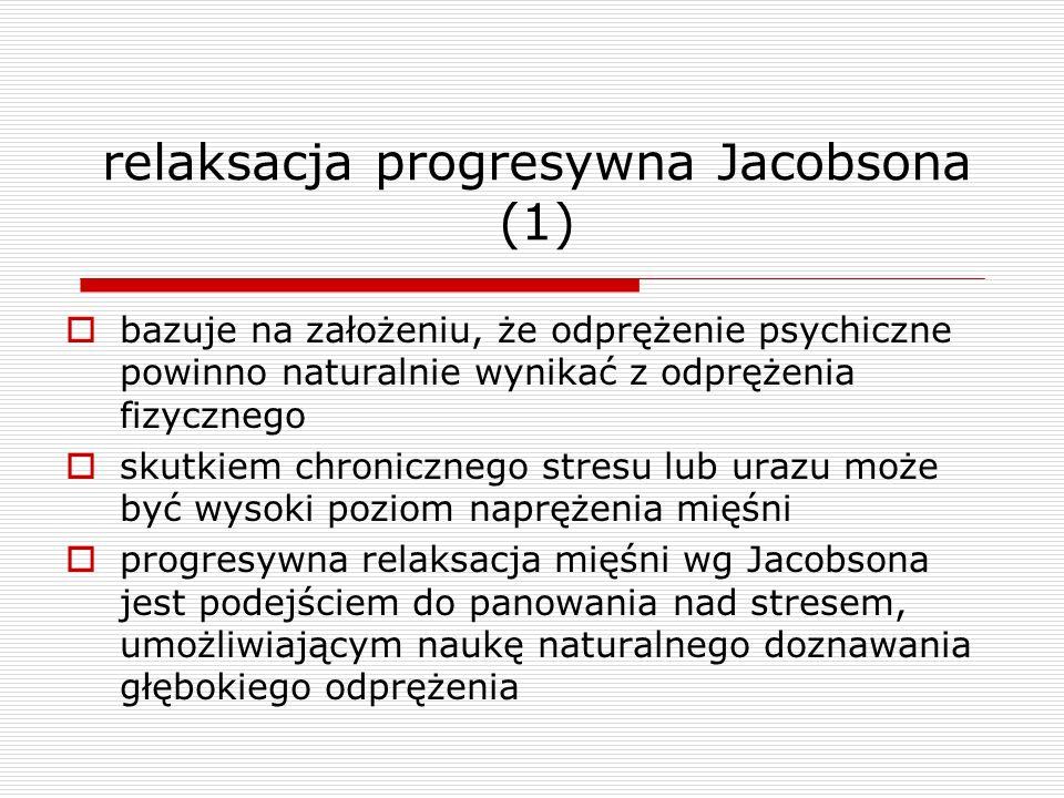 relaksacja progresywna Jacobsona (1) bazuje na założeniu, że odprężenie psychiczne powinno naturalnie wynikać z odprężenia fizycznego skutkiem chronic