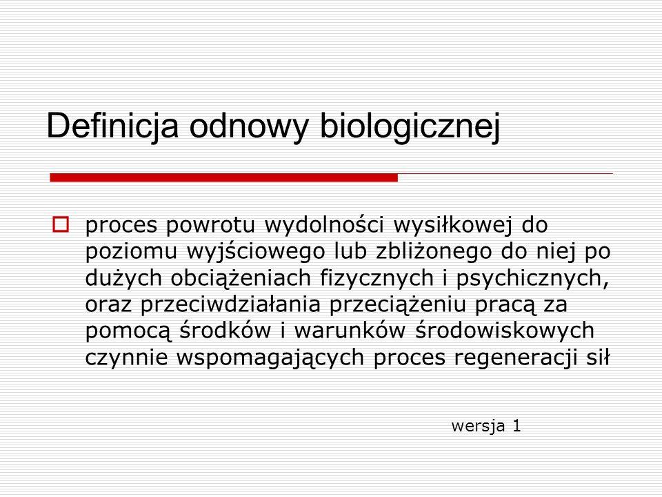 Definicja odnowy biologicznej proces powrotu wydolności wysiłkowej do poziomu wyjściowego lub zbliżonego do niej po dużych obciążeniach fizycznych i p