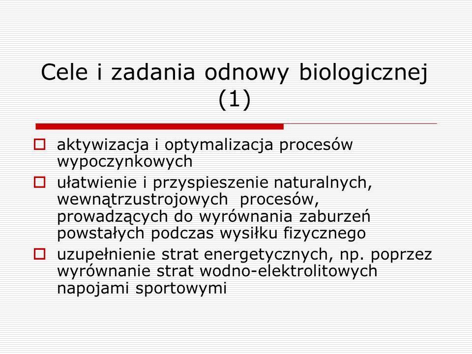 Cele i zadania odnowy biologicznej (1) aktywizacja i optymalizacja procesów wypoczynkowych ułatwienie i przyspieszenie naturalnych, wewnątrzustrojowyc