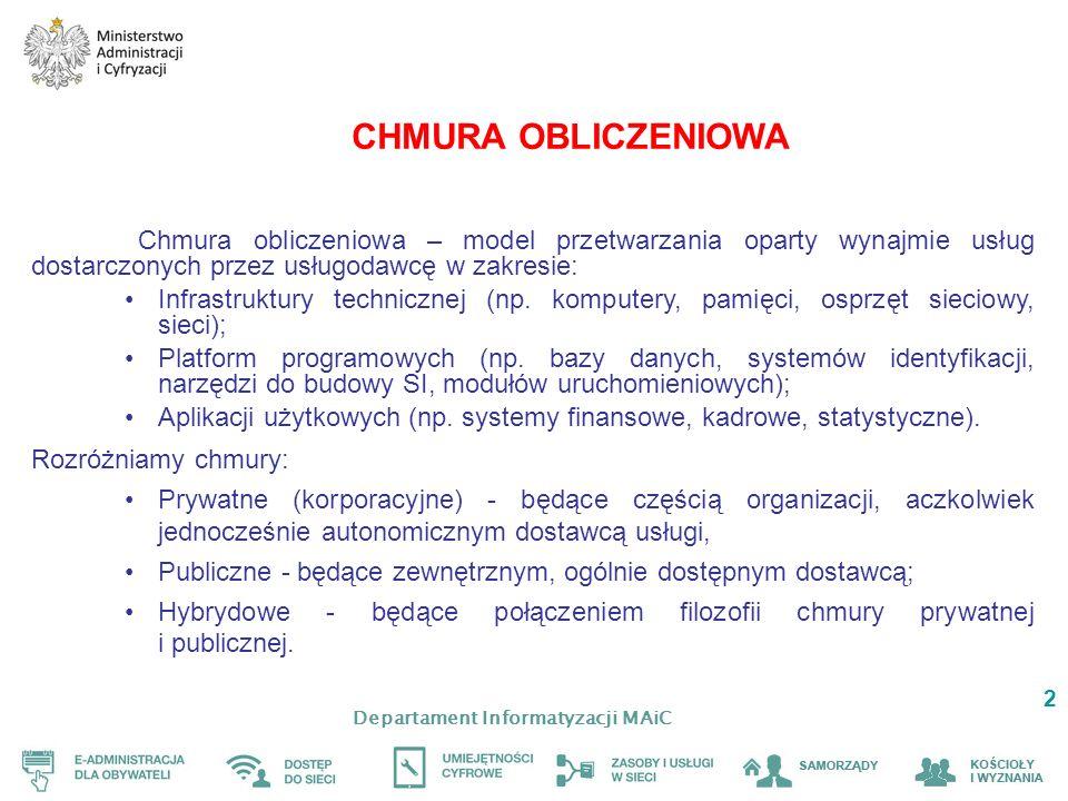 Departament Informatyzacji MAiC 2 CHMURA OBLICZENIOWA Chmura obliczeniowa – model przetwarzania oparty wynajmie usług dostarczonych przez usługodawcę w zakresie: Infrastruktury technicznej (np.