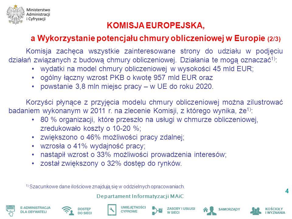 Departament Informatyzacji MAiC 4 KOMISJA EUROPEJSKA, a Wykorzystanie potencjału chmury obliczeniowej w Europie (2/3) Komisja zachęca wszystkie zainteresowane strony do udziału w podjęciu działań związanych z budową chmury obliczeniowej.