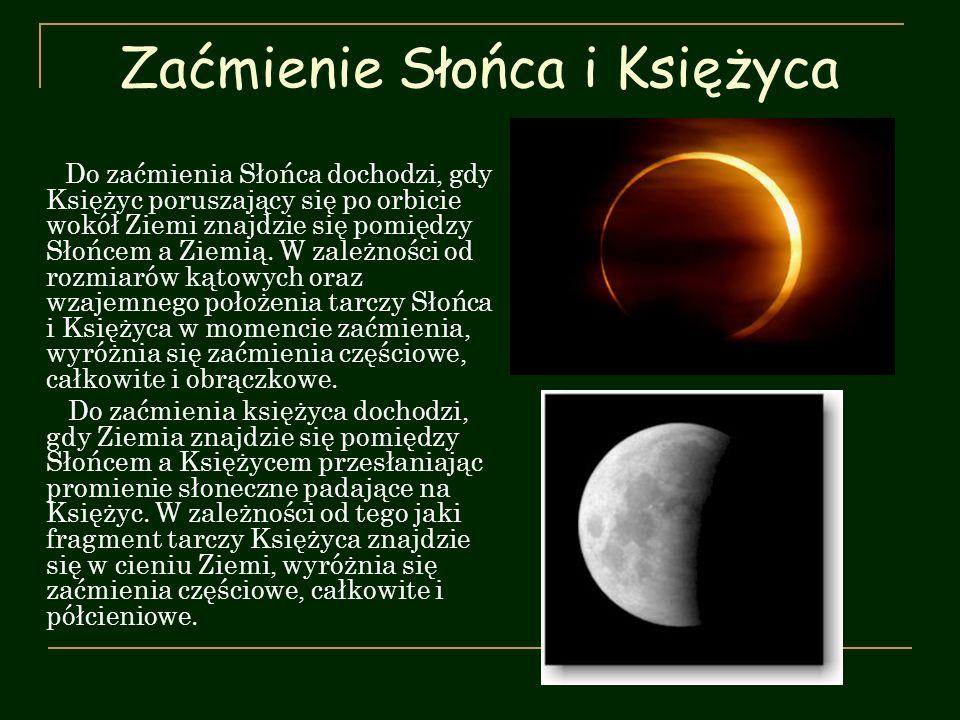 Zaćmienie Słońca i Księżyca Do zaćmienia Słońca dochodzi, gdy Księżyc poruszający się po orbicie wokół Ziemi znajdzie się pomiędzy Słońcem a Ziemią. W