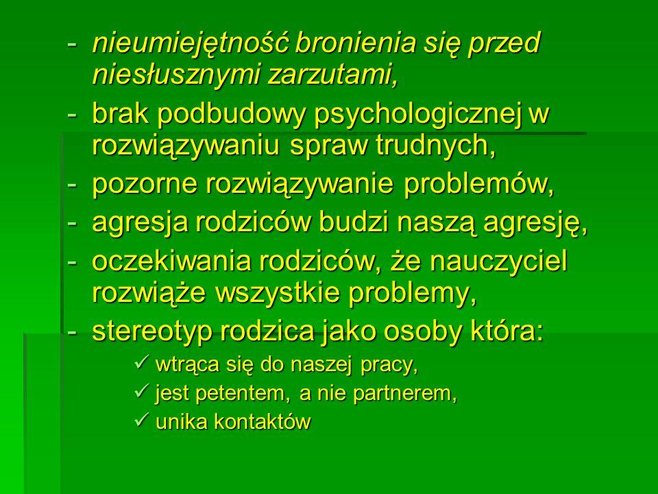 -nieumiejętność bronienia się przed niesłusznymi zarzutami, -brak podbudowy psychologicznej w rozwiązywaniu spraw trudnych, -pozorne rozwiązywanie pro