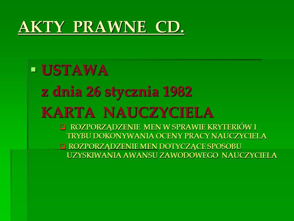 AKTY PRAWNE CD. USTAWA USTAWA z dnia 26 stycznia 1982 z dnia 26 stycznia 1982 KARTA NAUCZYCIELA KARTA NAUCZYCIELA ROZPORZĄDZENIE MEN W SPRAWIE KRYTERI