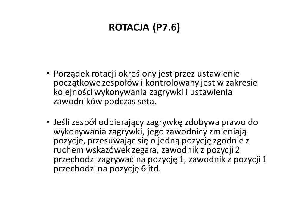 ROTACJA (P7.6) Porządek rotacji określony jest przez ustawienie początkowe zespołów i kontrolowany jest w zakresie kolejności wykonywania zagrywki i u