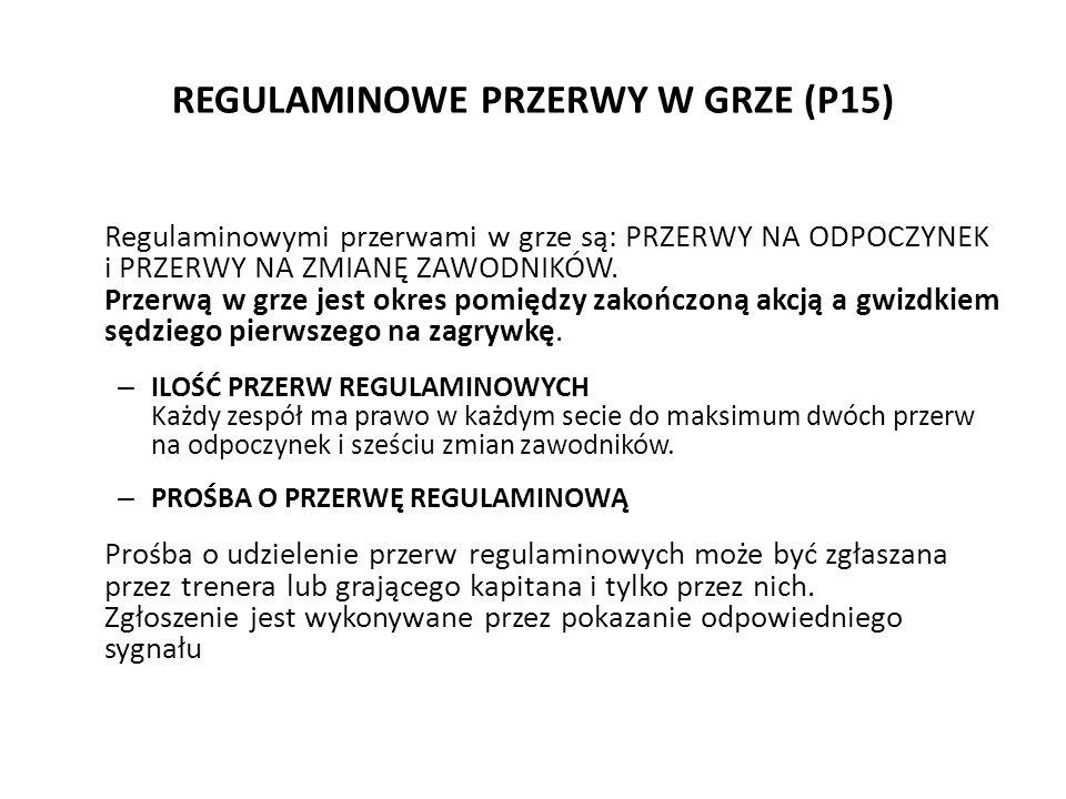 REGULAMINOWE PRZERWY W GRZE (P15) Regulaminowymi przerwami w grze są: PRZERWY NA ODPOCZYNEK i PRZERWY NA ZMIANĘ ZAWODNIKÓW. Przerwą w grze jest okres