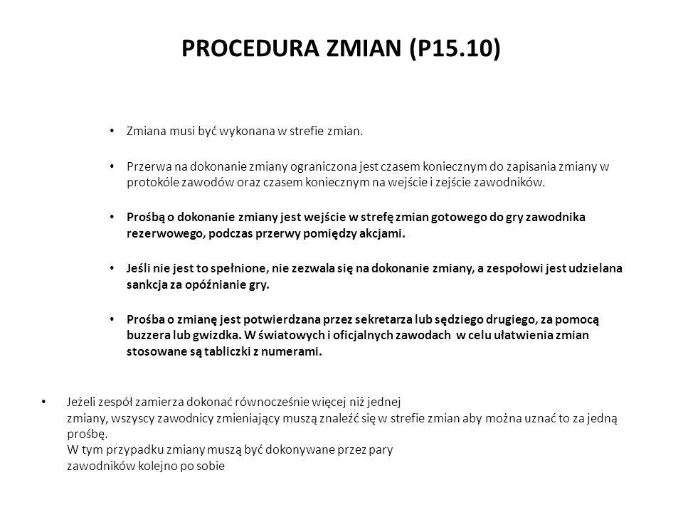 PROCEDURA ZMIAN (P15.10) Zmiana musi być wykonana w strefie zmian. Przerwa na dokonanie zmiany ograniczona jest czasem koniecznym do zapisania zmiany