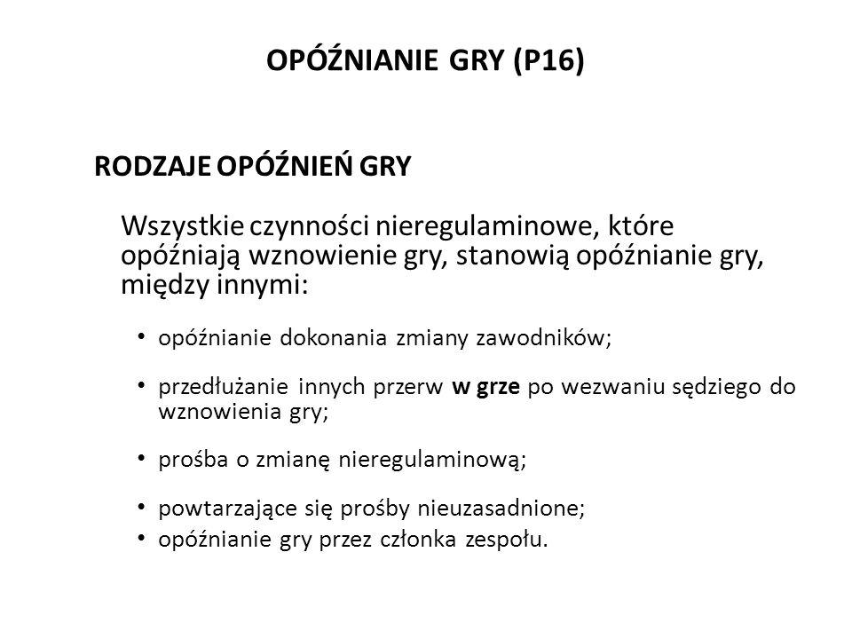 OPÓŹNIANIE GRY (P16) RODZAJE OPÓŹNIEŃ GRY Wszystkie czynności nieregulaminowe, które opóźniają wznowienie gry, stanowią opóźnianie gry, między innymi: