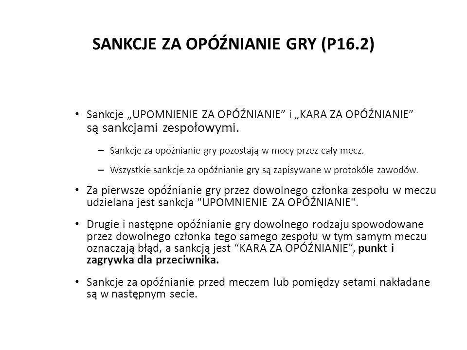 SANKCJE ZA OPÓŹNIANIE GRY (P16.2) Sankcje UPOMNIENIE ZA OPÓŹNIANIE i KARA ZA OPÓŹNIANIE są sankcjami zespołowymi. – Sankcje za opóźnianie gry pozostaj