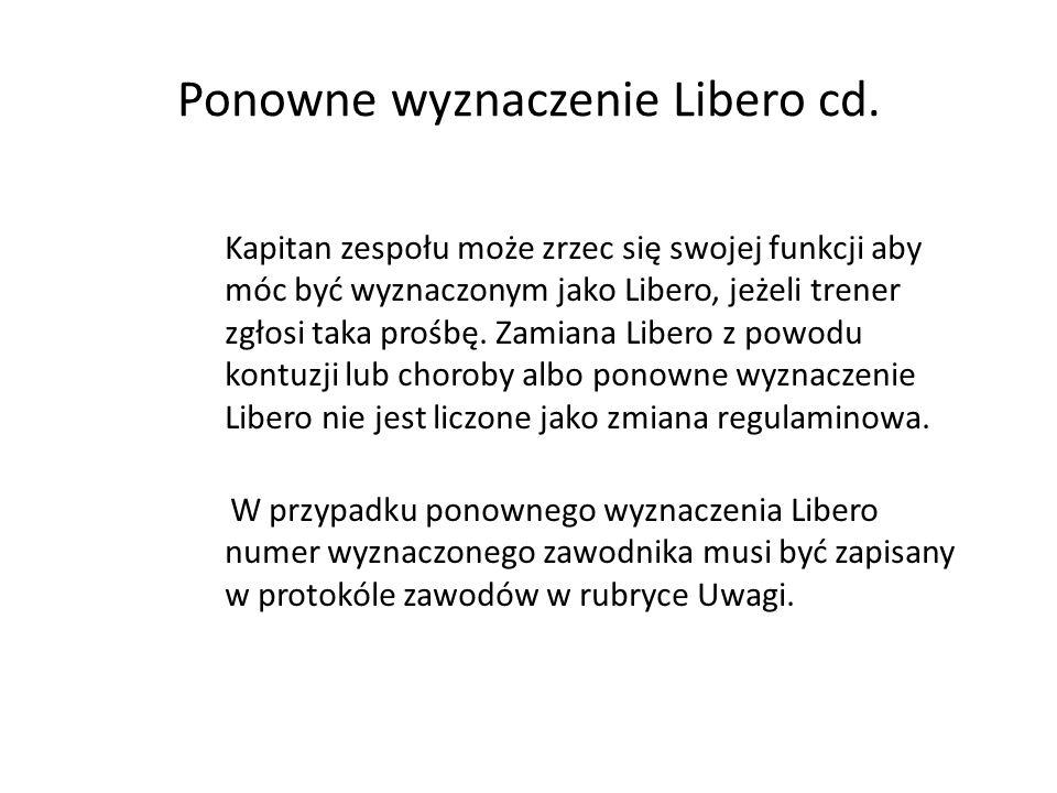 Ponowne wyznaczenie Libero cd. Kapitan zespołu może zrzec się swojej funkcji aby móc być wyznaczonym jako Libero, jeżeli trener zgłosi taka prośbę. Za