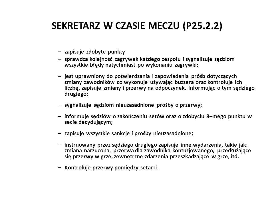 SEKRETARZ W CZASIE MECZU (P25.2.2) – zapisuje zdobyte punkty – sprawdza kolejność zagrywek każdego zespołu i sygnalizuje sędziom wszystkie błędy natyc