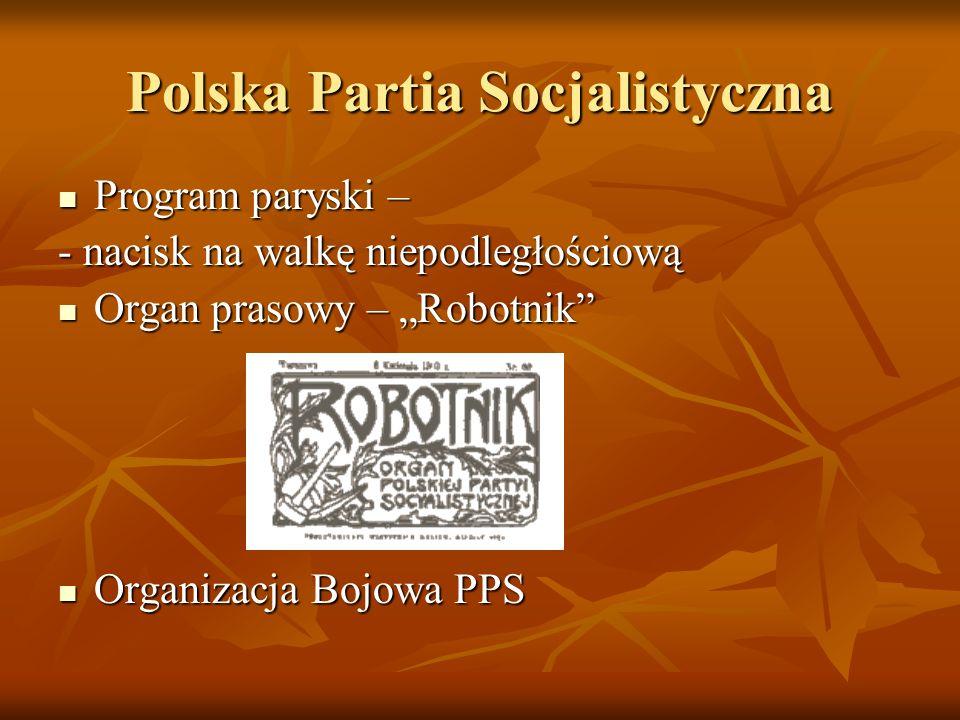 Polska Partia Socjalistyczna Program paryski – Program paryski – - nacisk na walkę niepodległościową Organ prasowy – Robotnik Organ prasowy – Robotnik