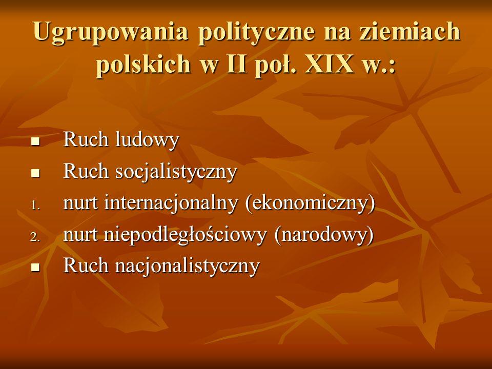 Ugrupowania polityczne na ziemiach polskich w II poł. XIX w.: Ruch ludowy Ruch ludowy Ruch socjalistyczny Ruch socjalistyczny 1. nurt internacjonalny