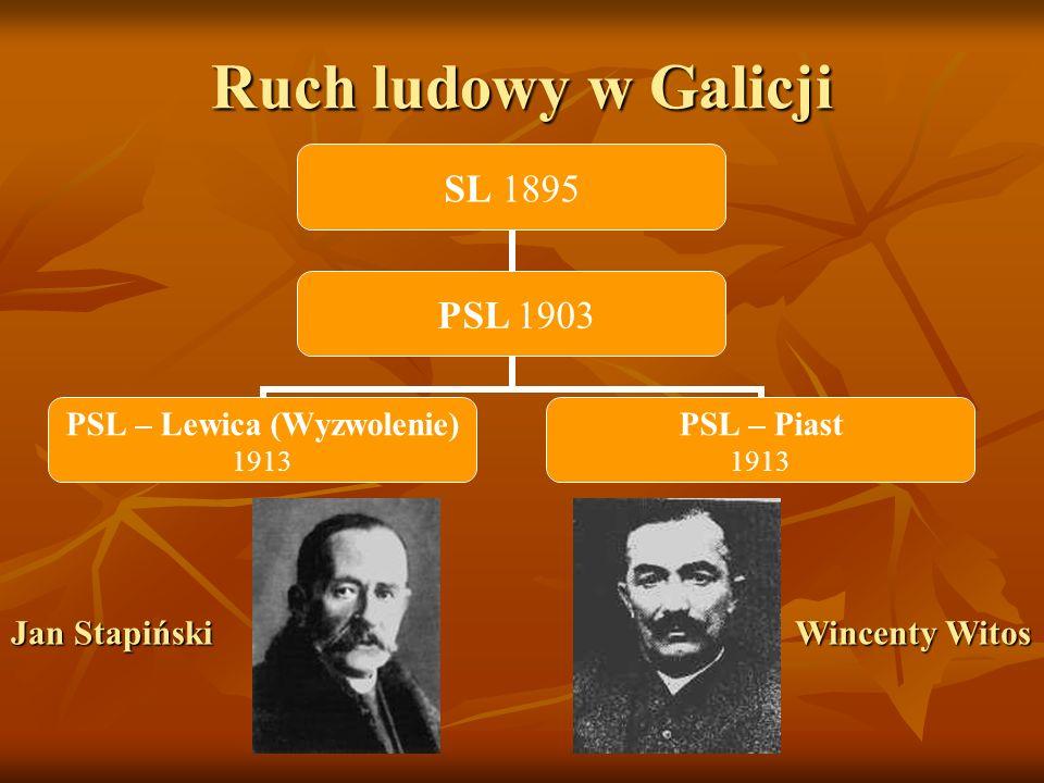 Ruch ludowy w Galicji SL 1895 PSL 1903 PSL – Lewica (Wyzwolenie) 1913 PSL – Piast 1913 Jan Stapiński Wincenty Witos