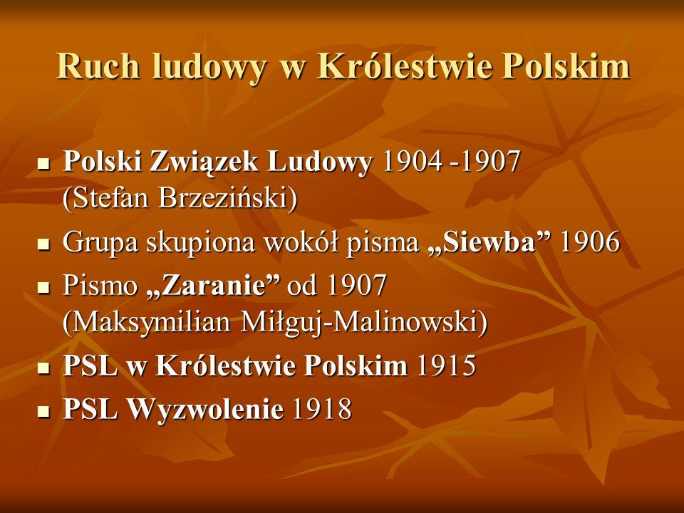 Ruch ludowy w Królestwie Polskim Polski Związek Ludowy 1904 -1907 (Stefan Brzeziński) Polski Związek Ludowy 1904 -1907 (Stefan Brzeziński) Grupa skupi