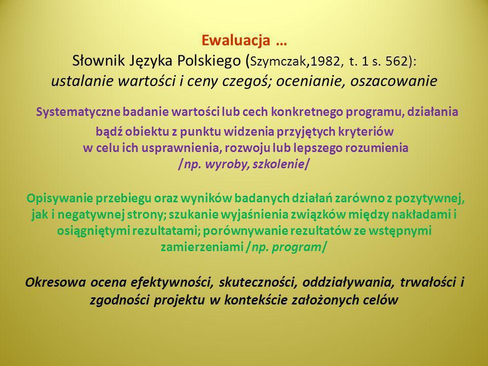 Ewaluacja … Słownik Języka Polskiego ( Szymczak, 1982, t. 1 s. 562): ustalanie wartości i ceny czegoś; ocenianie, oszacowanie Systematyczne badanie wa