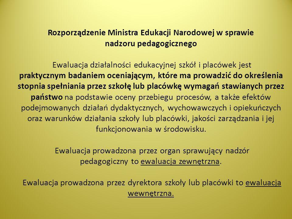 Rozporządzenie Ministra Edukacji Narodowej w sprawie nadzoru pedagogicznego Ewaluacja działalności edukacyjnej szkół i placówek jest praktycznym badan