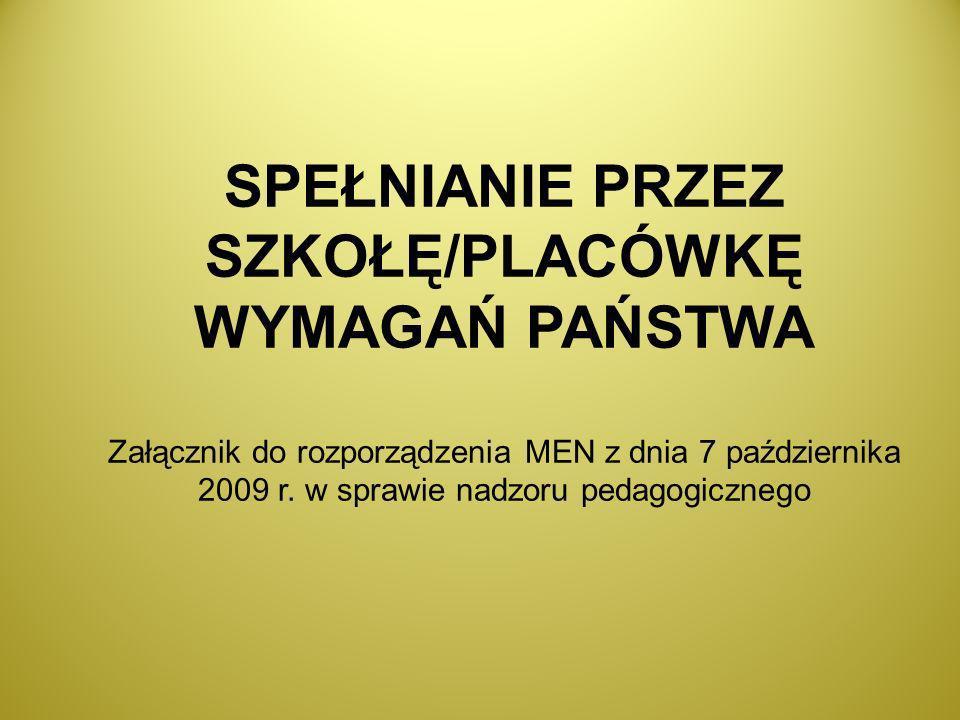 SPEŁNIANIE PRZEZ SZKOŁĘ/PLACÓWKĘ WYMAGAŃ PAŃSTWA Załącznik do rozporządzenia MEN z dnia 7 października 2009 r. w sprawie nadzoru pedagogicznego