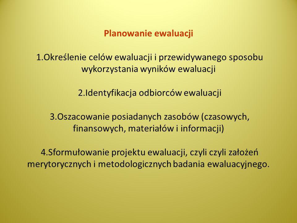Planowanie ewaluacji 1.Określenie celów ewaluacji i przewidywanego sposobu wykorzystania wyników ewaluacji 2.Identyfikacja odbiorców ewaluacji 3.Oszac