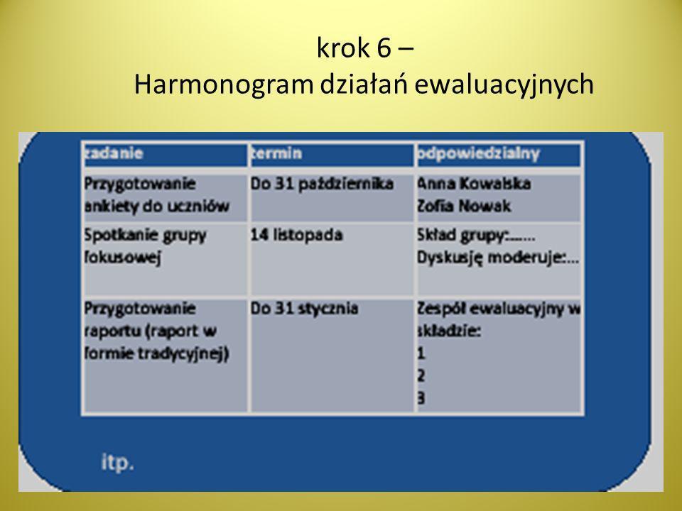 krok 6 – Harmonogram działań ewaluacyjnych
