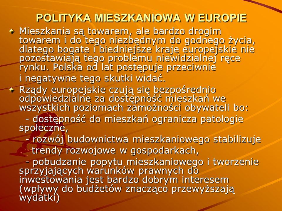 POLITYKA MIESZKANIOWA W EUROPIE Mieszkania są towarem, ale bardzo drogim towarem i do tego niezbędnym do godnego życia, dlatego bogate i biedniejsze k