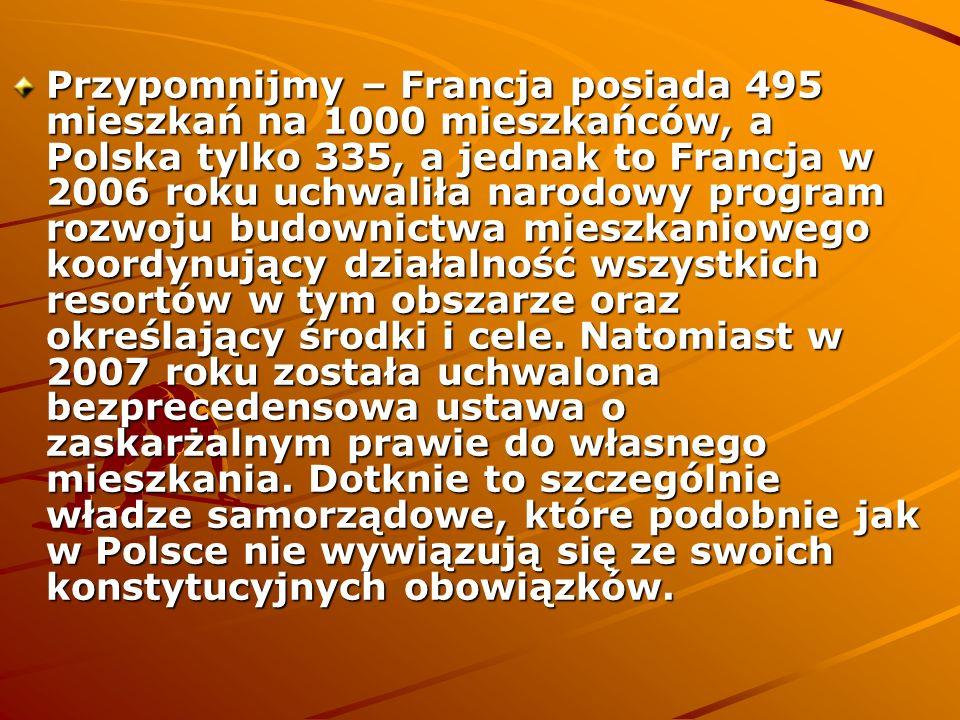 Przypomnijmy – Francja posiada 495 mieszkań na 1000 mieszkańców, a Polska tylko 335, a jednak to Francja w 2006 roku uchwaliła narodowy program rozwoj
