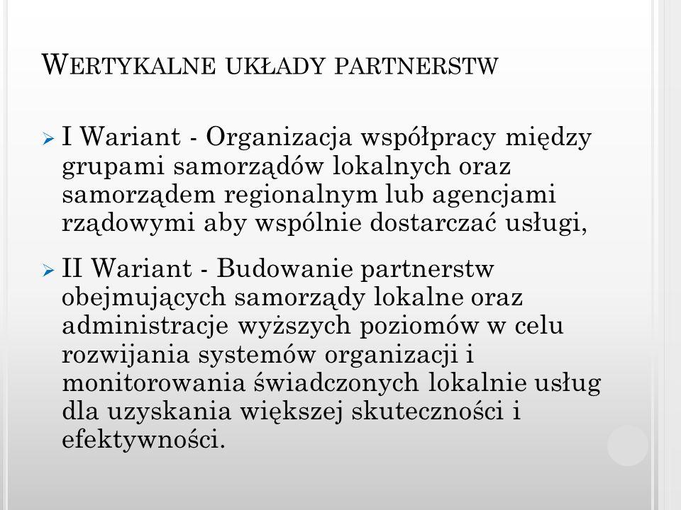 W ERTYKALNE UKŁADY PARTNERSTW I Wariant - Organizacja współpracy między grupami samorządów lokalnych oraz samorządem regionalnym lub agencjami rządowy