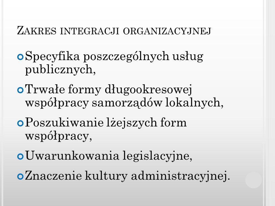 Z AKRES INTEGRACJI ORGANIZACYJNEJ Specyfika poszczególnych usług publicznych, Trwałe formy długookresowej współpracy samorządów lokalnych, Poszukiwani