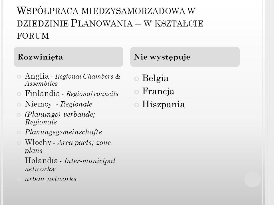 W SPÓŁPRACA MIĘDZYSAMORZADOWA W DZIEDZINIE P LANOWANIA – W KSZTAŁCIE FORUM Anglia - Regional Chambers & Assemblies Finlandia - Regional councils Niemc
