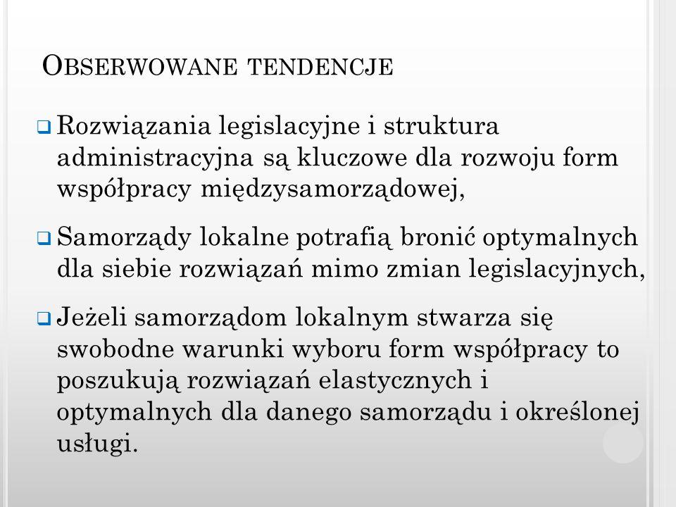 O BSERWOWANE TENDENCJE Rozwiązania legislacyjne i struktura administracyjna są kluczowe dla rozwoju form współpracy międzysamorządowej, Samorządy loka