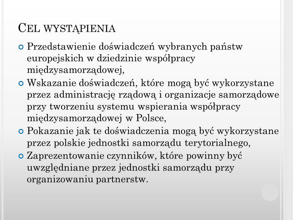 T REŚĆ WYSTĄPIENIA Aspekty metodyczne, Przegląd doświadczeń wybranych krajów, Przedstawienie koncepcji modelowej uwarunkowań instytucjonalnych form współpracy międzysamorządowej, Wnioski dla aktualnej sytuacji w Polsce.