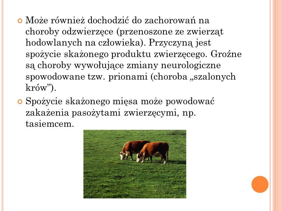 Może również dochodzić do zachorowań na choroby odzwierzęce (przenoszone ze zwierząt hodowlanych na człowieka). Przyczyną jest spożycie skażonego prod