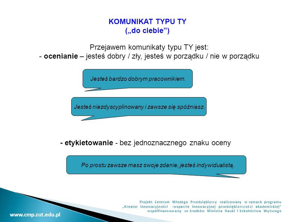 www.cmp.zut.edu.pl Projekt Centrum Młodego Przedsiębiorcy realizowany w ramach programu Kreator Innowacyjności -wsparcie innowacyjnej przedsiębiorczości akademickiej współfinansowany ze środków Ministra Nauki i Szkolnictwa Wyższego KOMUNIKAT TYPU TY (do ciebie) Przejawem komunikaty typu TY jest: - ocenianie – jesteś dobry / zły, jesteś w porządku / nie w porządku Jesteś bardzo dobrym pracownikiem.