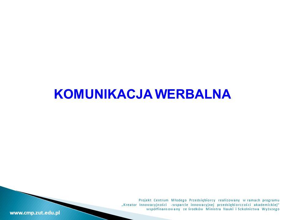 www.cmp.zut.edu.pl Projekt Centrum Młodego Przedsiębiorcy realizowany w ramach programu Kreator Innowacyjności -wsparcie innowacyjnej przedsiębiorczości akademickiej współfinansowany ze środków Ministra Nauki i Szkolnictwa Wyższego KOMUNIKACJA WERBALNA