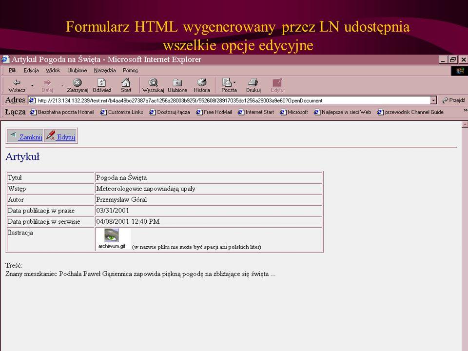 Formularz HTML wygenerowany przez LN udostępnia wszelkie opcje edycyjne