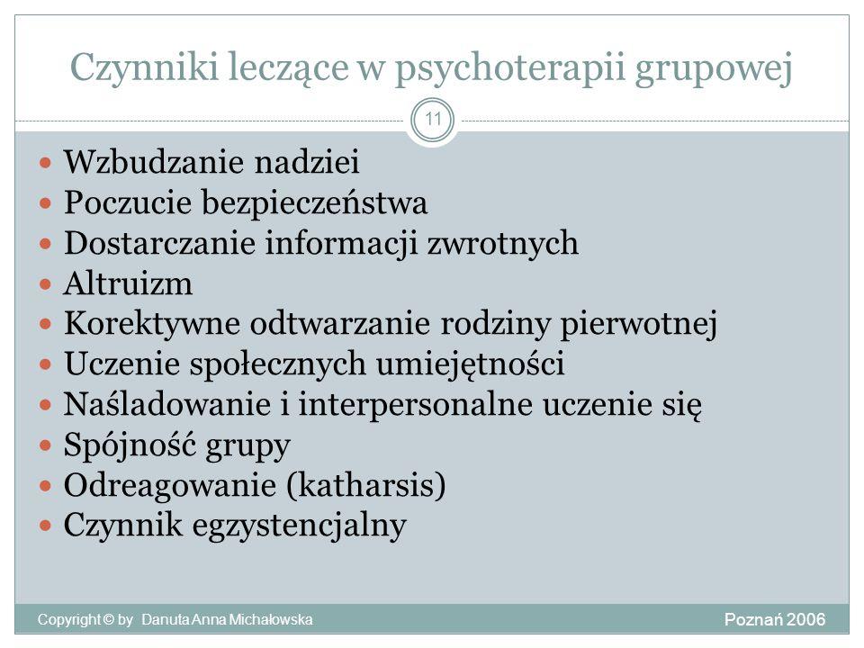 Czynniki leczące w psychoterapii grupowej Poznań 2006 Copyright © by Danuta Anna Michałowska 11 Wzbudzanie nadziei Poczucie bezpieczeństwa Dostarczani