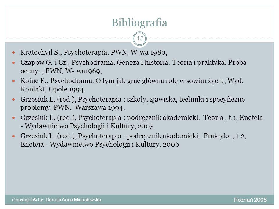 Bibliografia Poznań 2006 Copyright © by Danuta Anna Michałowska 12 Kratochvil S., Psychoterapia, PWN, W-wa 1980, Czapów G. i Cz., Psychodrama. Geneza